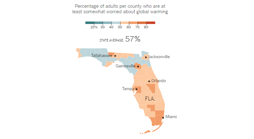 Climate Map Of Florida.How Americans Think About Climate Change In Six Maps Southeast