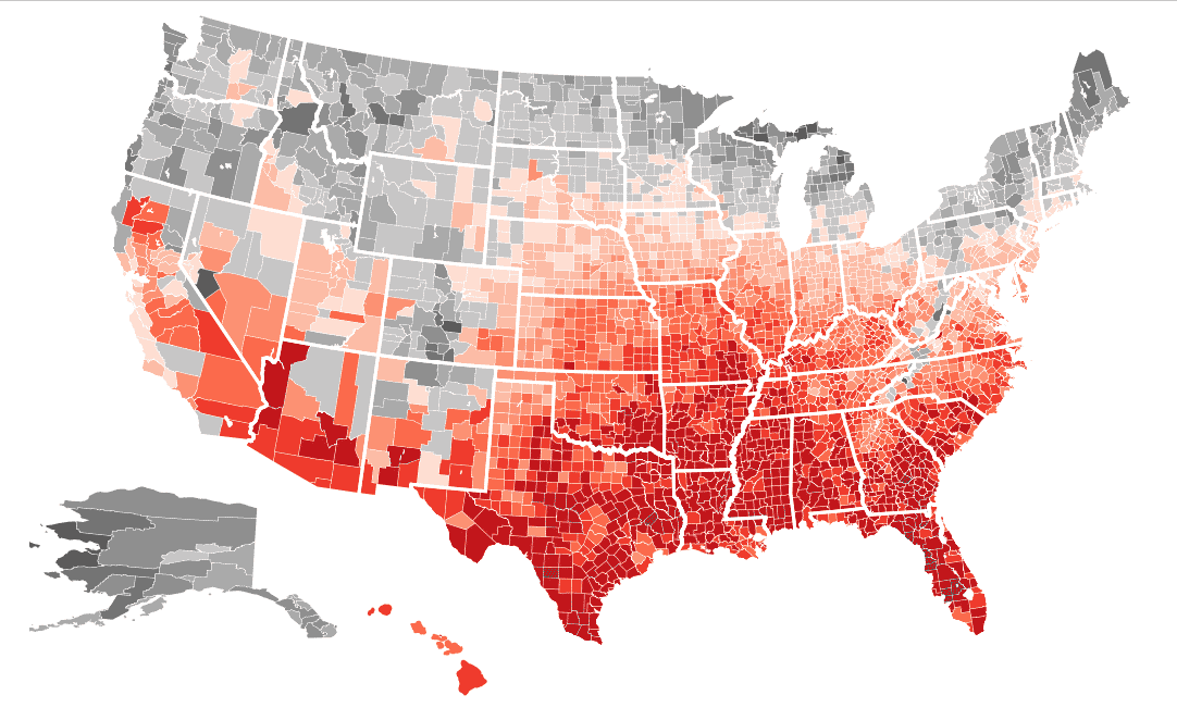 Map How Much Climate Change Will Cost Each Us County Southeast - Climate-map-of-us